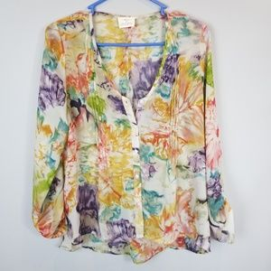 Pins & Needles UO Sheer Floral Top Sz Small Pleats